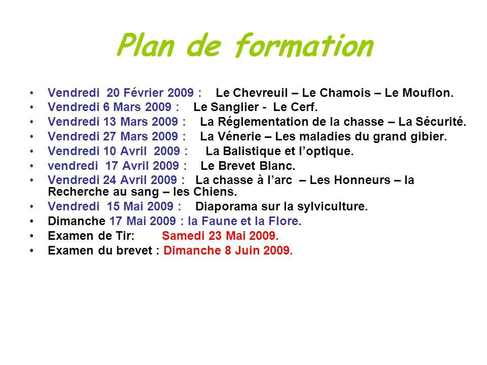 Plan de formationVendredi 20 Février 2009 : Le Chevreuil – Le Chamois – Le Mouflon. Vendredi 6 Mars 2009 : Le Sanglier - Le Cerf.