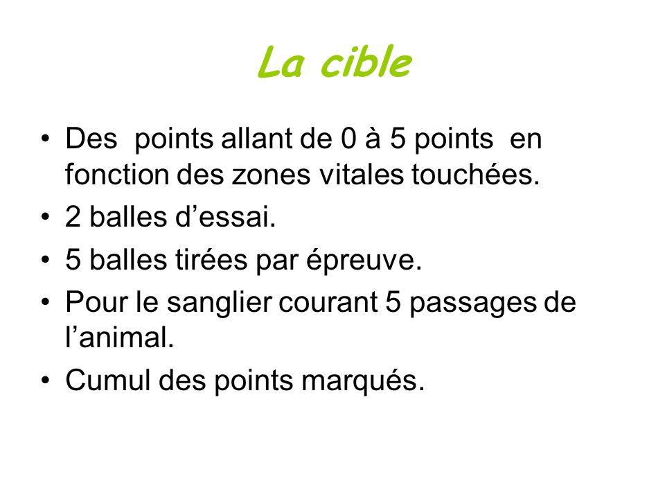 La cibleDes points allant de 0 à 5 points en fonction des zones vitales touchées. 2 balles d'essai.