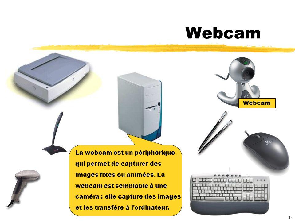Webcam Webcam La webcam est un périphérique qui permet de capturer des