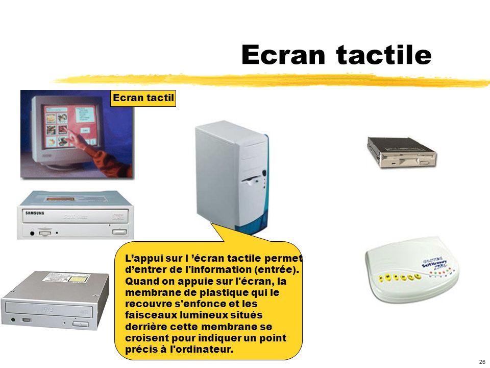 Ecran tactile Ecran tactil L'appui sur l 'écran tactile permet