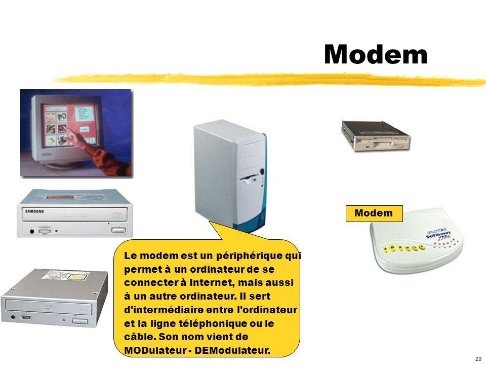Modem Modem Le modem est un périphérique qui