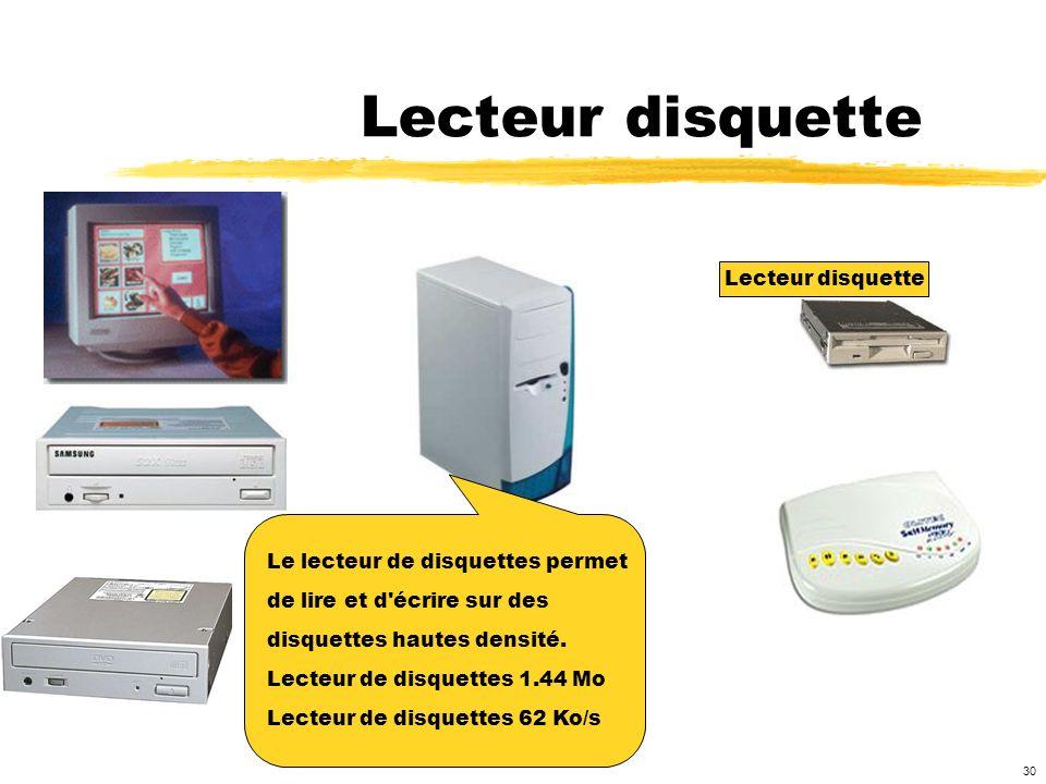 Lecteur disquette Lecteur disquette Le lecteur de disquettes permet