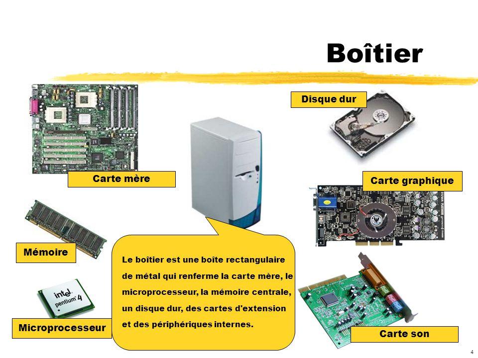 Boîtier Disque dur Carte mère Carte graphique Mémoire Microprocesseur