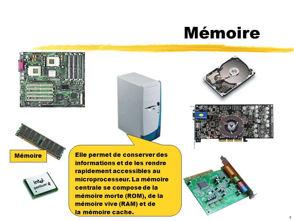 Mémoire Elle permet de conserver des Mémoire