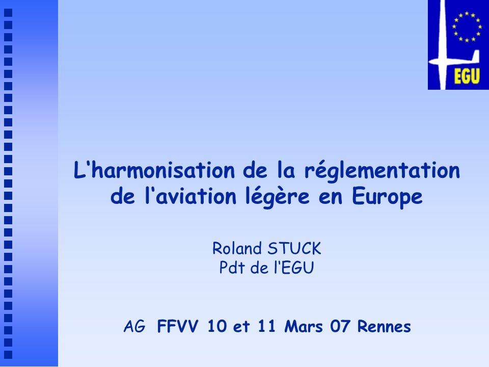 L'harmonisation de la réglementation de l'aviation légère en Europe Roland STUCK Pdt de l'EGU AG FFVV 10 et 11 Mars 07 Rennes