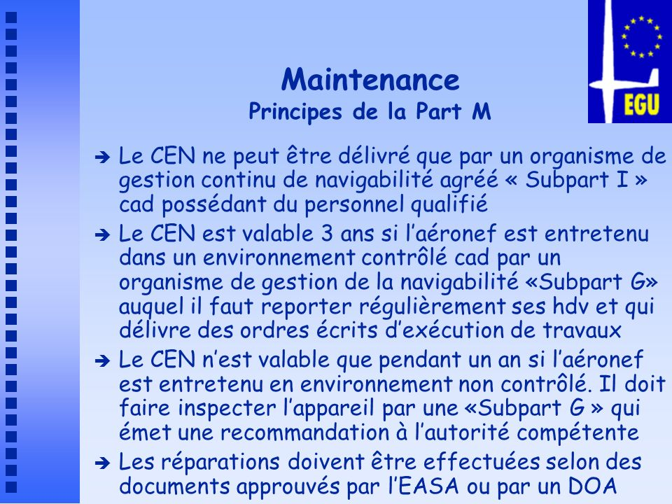Maintenance Principes de la Part M