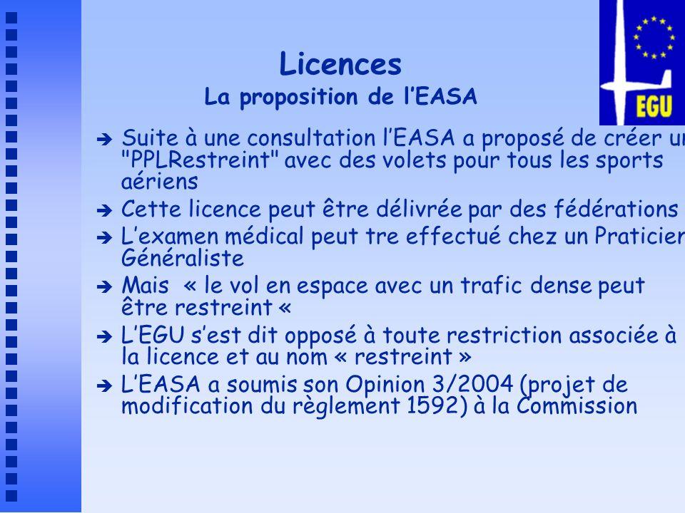 Licences La proposition de l'EASA