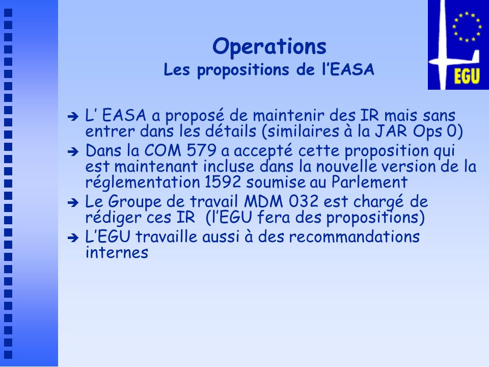 Operations Les propositions de l'EASA