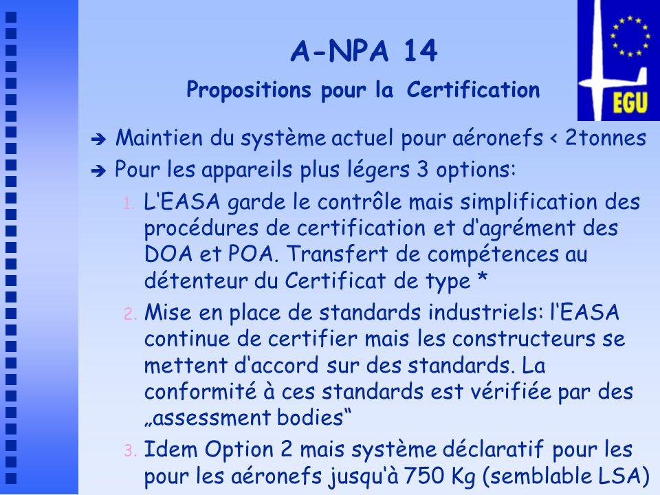 A-NPA 14 Propositions pour la Certification