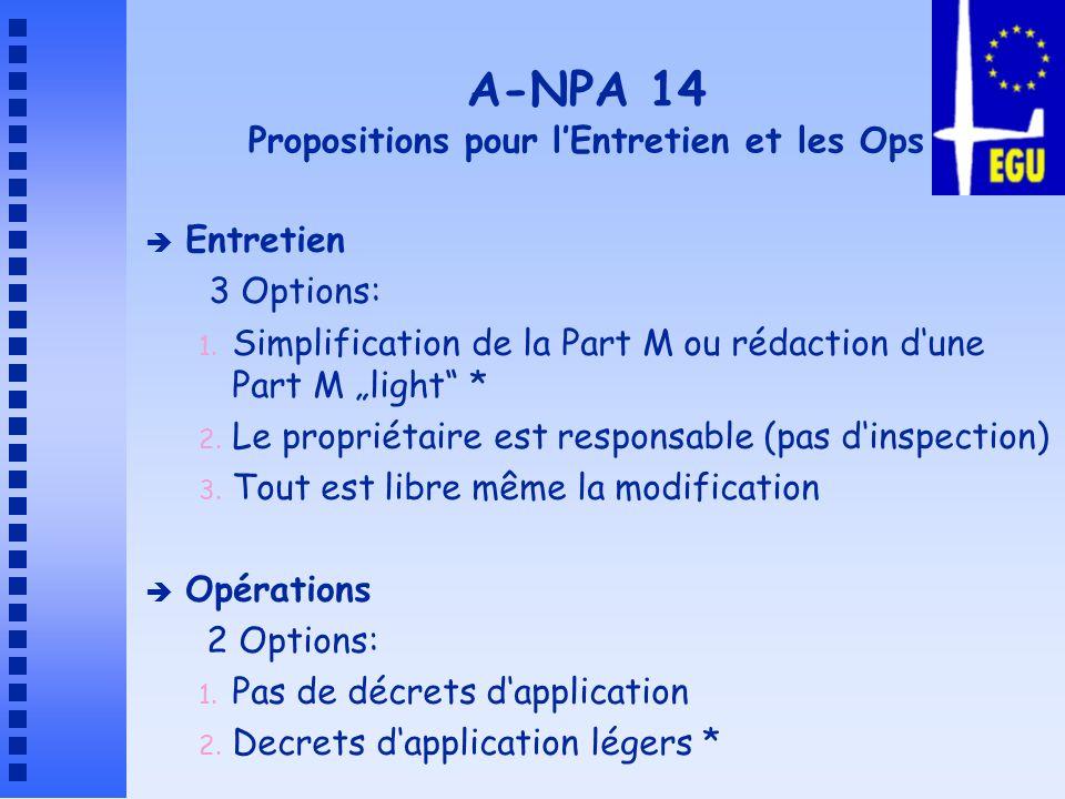 A-NPA 14 Propositions pour l'Entretien et les Ops