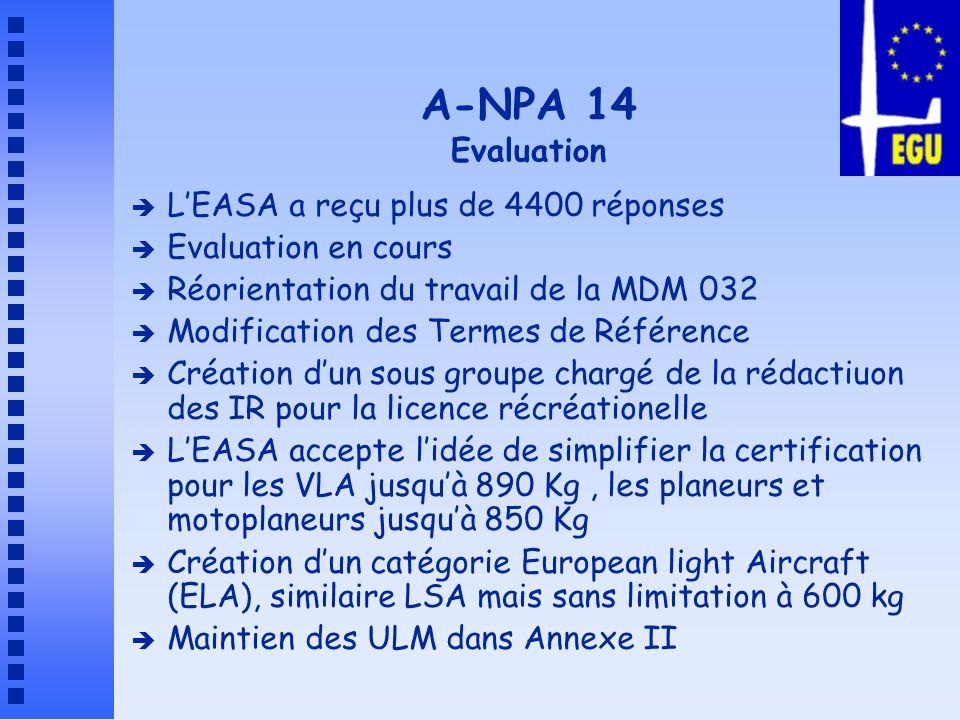 A-NPA 14 Evaluation L'EASA a reçu plus de 4400 réponses