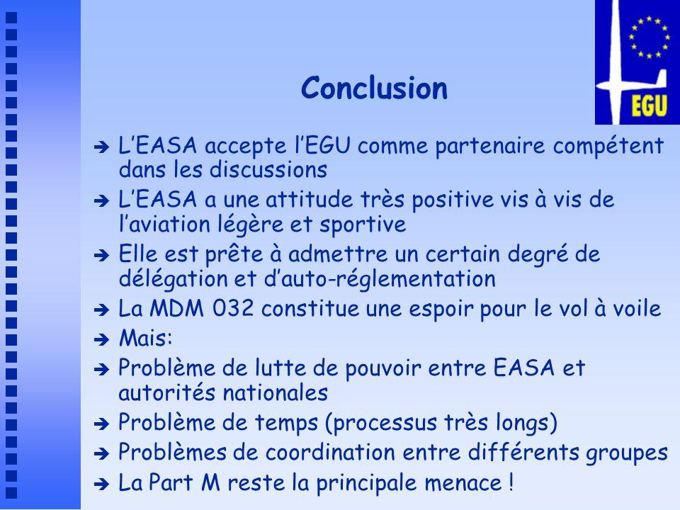 Conclusion L'EASA accepte l'EGU comme partenaire compétent dans les discussions.