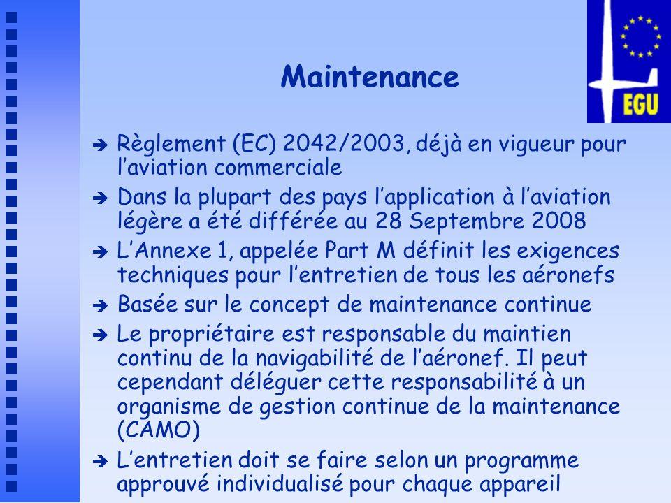 MaintenanceRèglement (EC) 2042/2003, déjà en vigueur pour l'aviation commerciale.