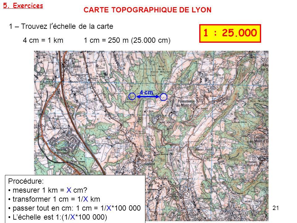 1 : 25.000 CARTE TOPOGRAPHIQUE DE LYON