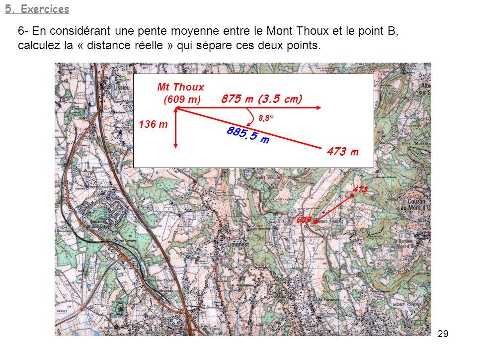 6- En considérant une pente moyenne entre le Mont Thoux et le point B,