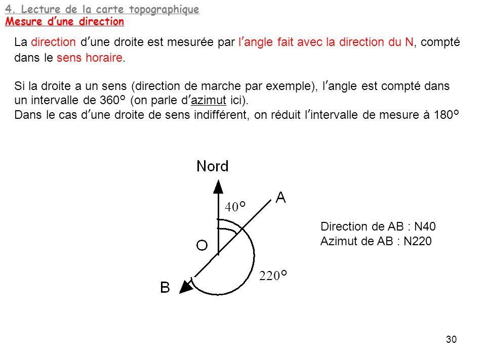 4. Lecture de la carte topographique