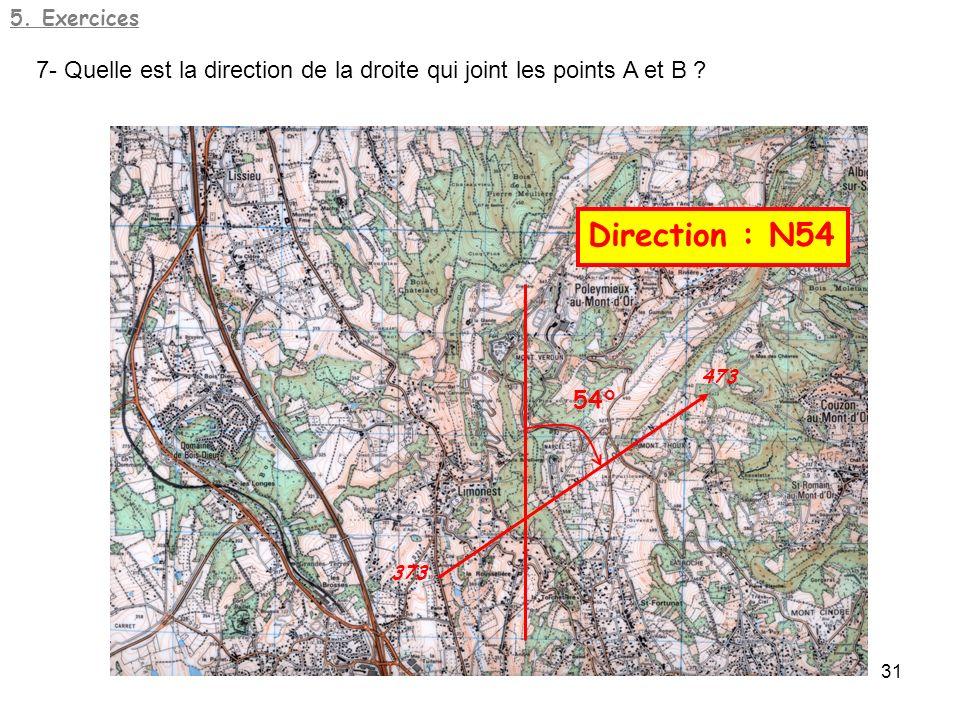 5. Exercices 7- Quelle est la direction de la droite qui joint les points A et B 54° Direction : N54.