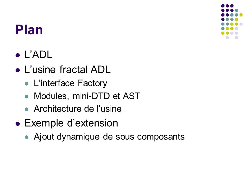 Plan L'ADL L'usine fractal ADL Exemple d'extension L'interface Factory