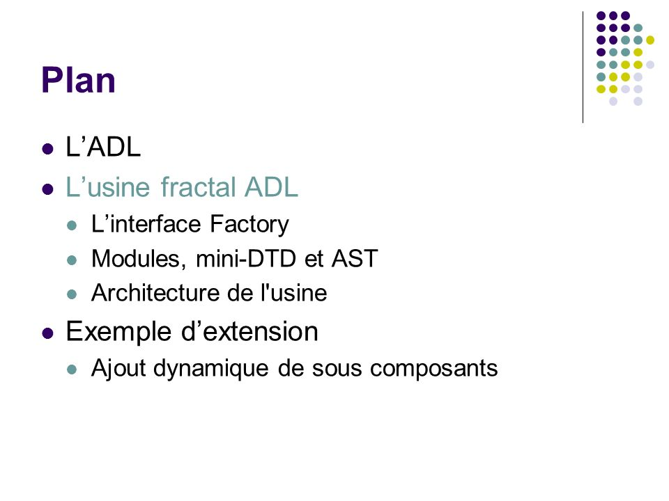 Plan L'ADL L'usine fractal ADL Exemple d'extension L'interface Factory