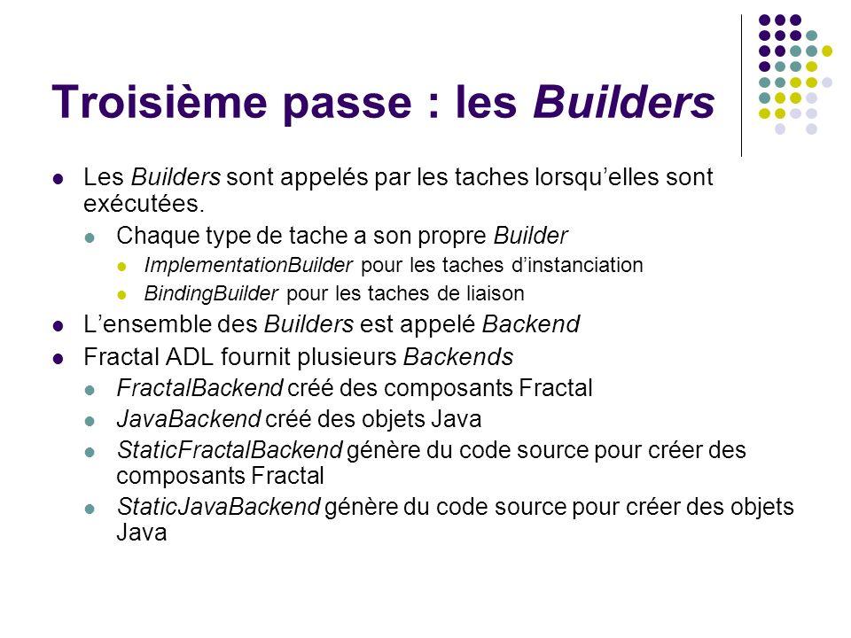 Troisième passe : les Builders