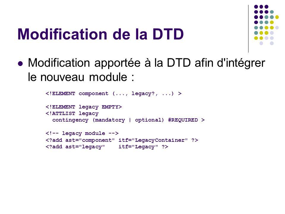 Modification de la DTD Modification apportée à la DTD afin d intégrer le nouveau module : <!ELEMENT component (..., legacy , ...) >