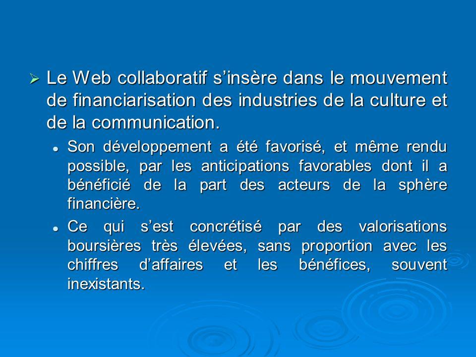 Le Web collaboratif s'insère dans le mouvement de financiarisation des industries de la culture et de la communication.