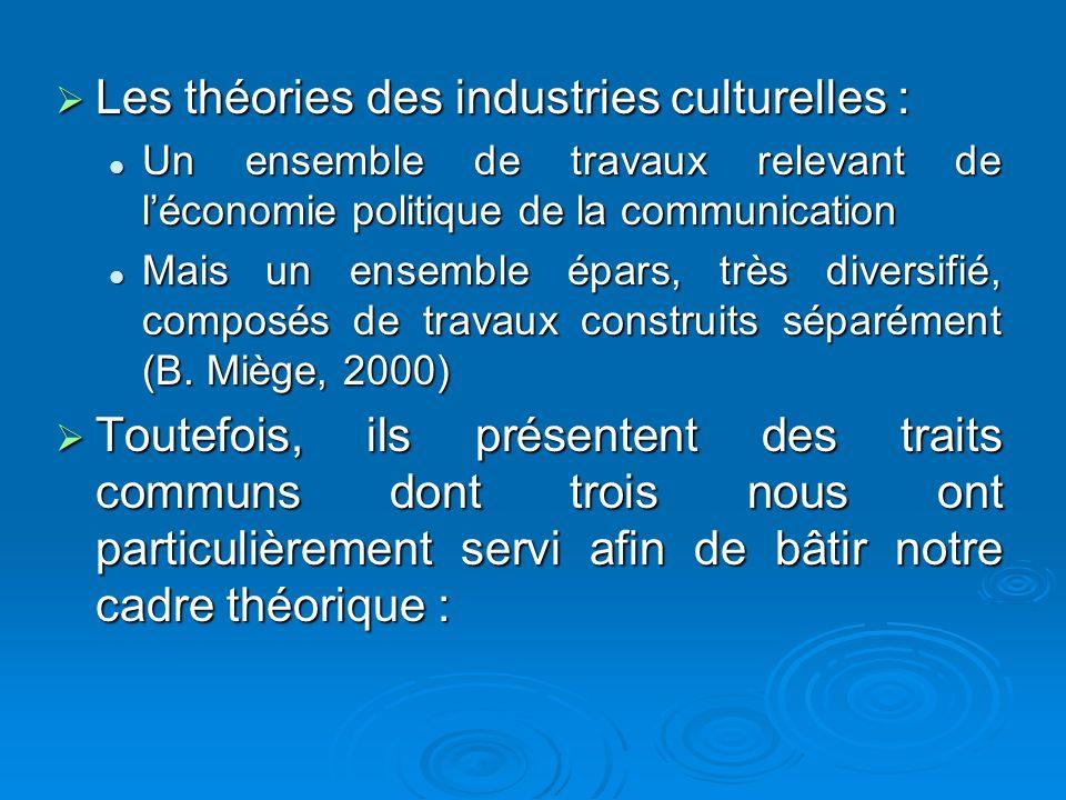 Les théories des industries culturelles :
