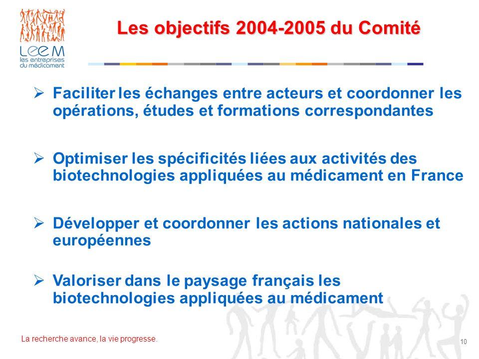 Les objectifs 2004-2005 du Comité