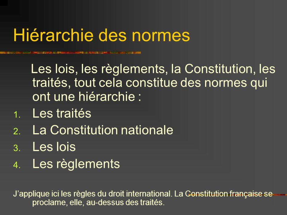 Hiérarchie des normesLes lois, les règlements, la Constitution, les traités, tout cela constitue des normes qui ont une hiérarchie :