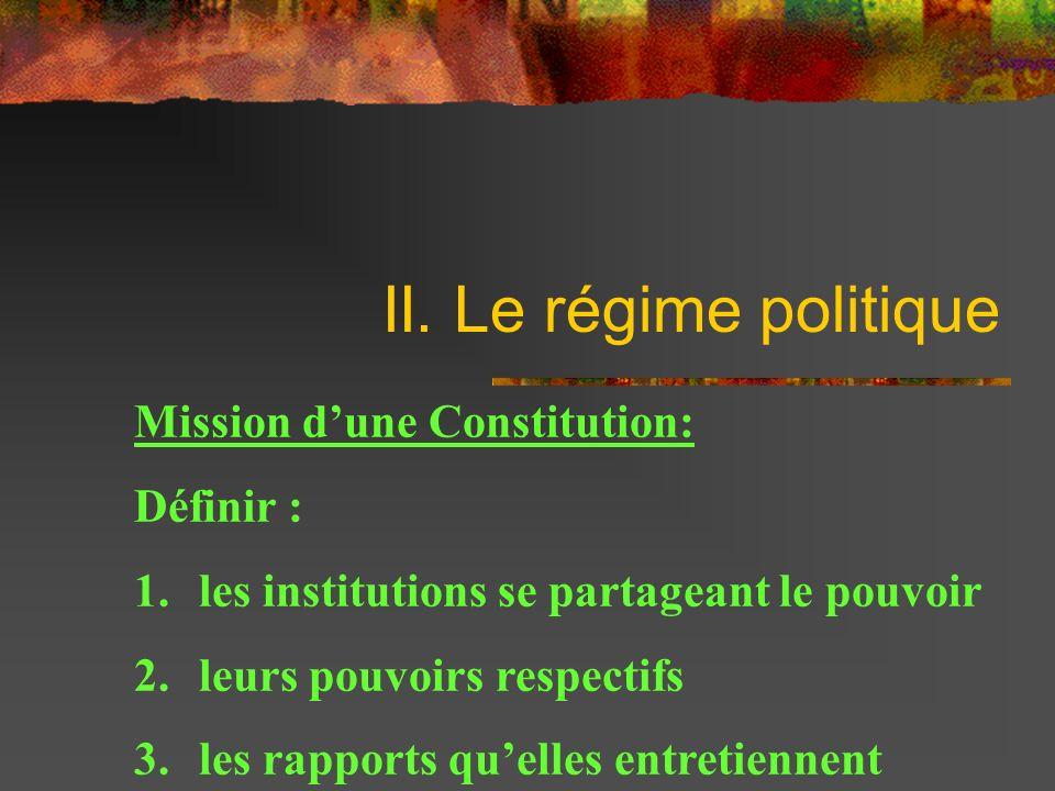 II. Le régime politique Mission d'une Constitution: Définir :