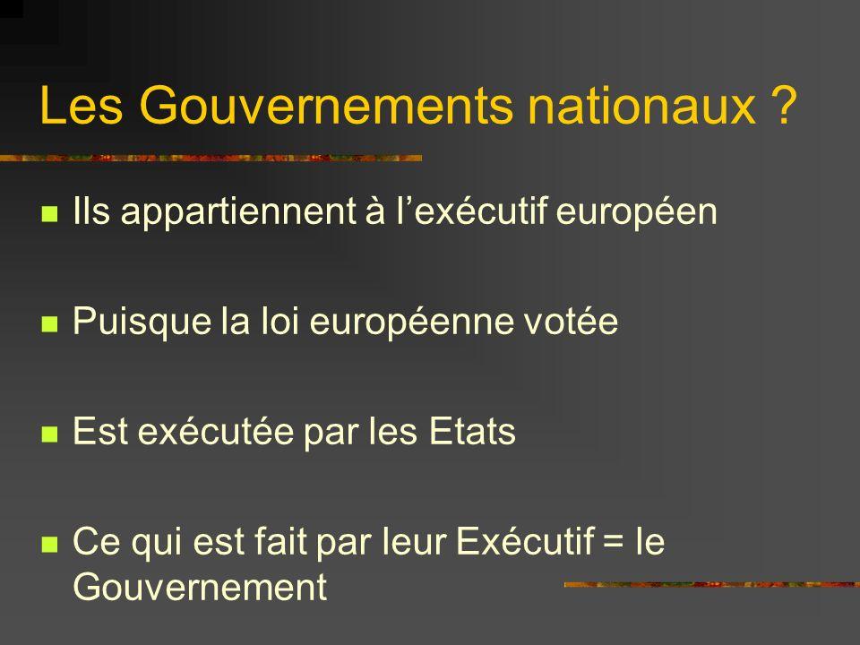 Les Gouvernements nationaux