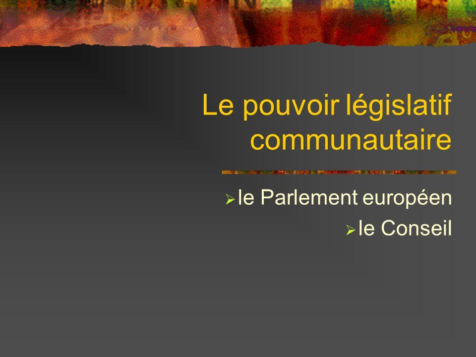 Le pouvoir législatif communautaire