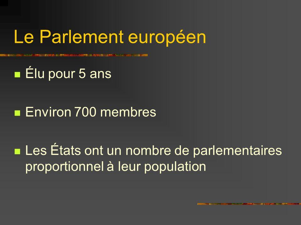 Le Parlement européen Élu pour 5 ans Environ 700 membres