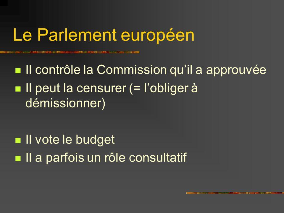 Le Parlement européen Il contrôle la Commission qu'il a approuvée