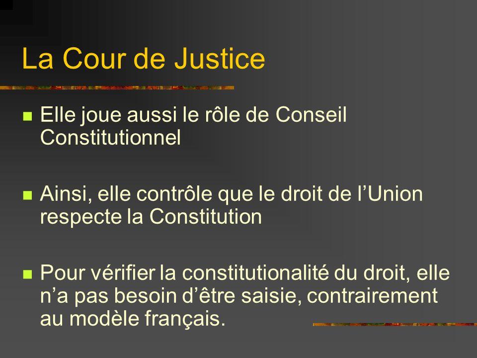 La Cour de Justice Elle joue aussi le rôle de Conseil Constitutionnel