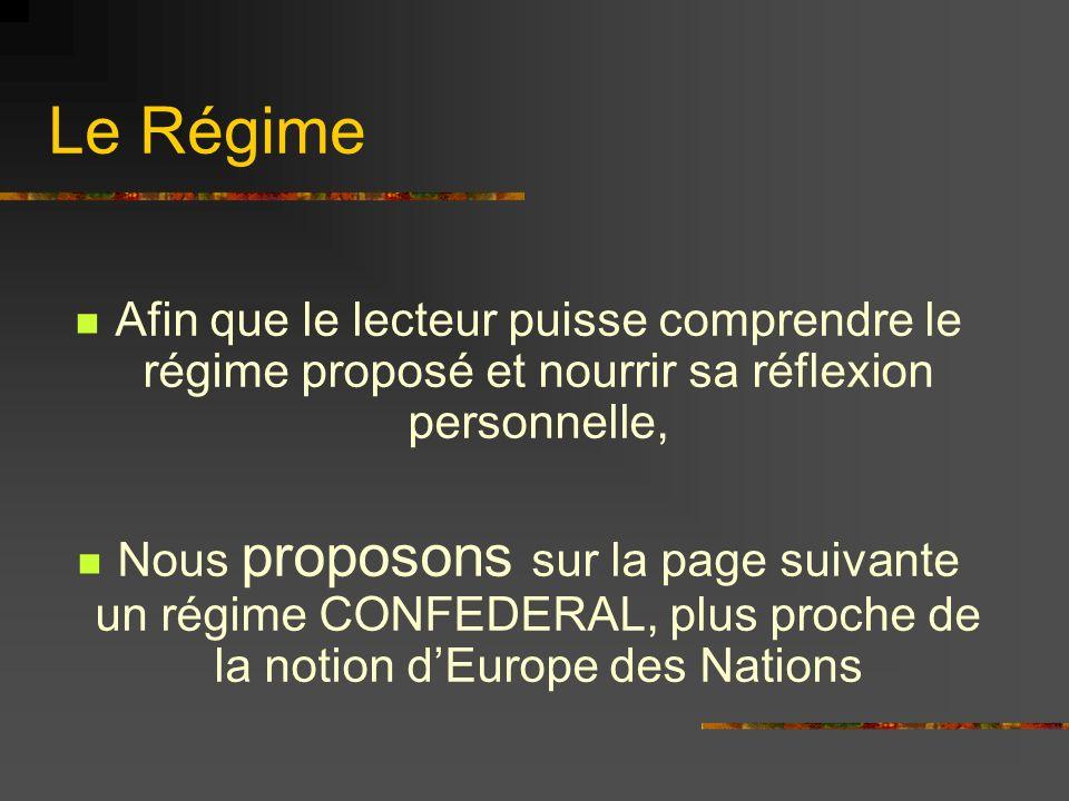 Le Régime Afin que le lecteur puisse comprendre le régime proposé et nourrir sa réflexion personnelle,