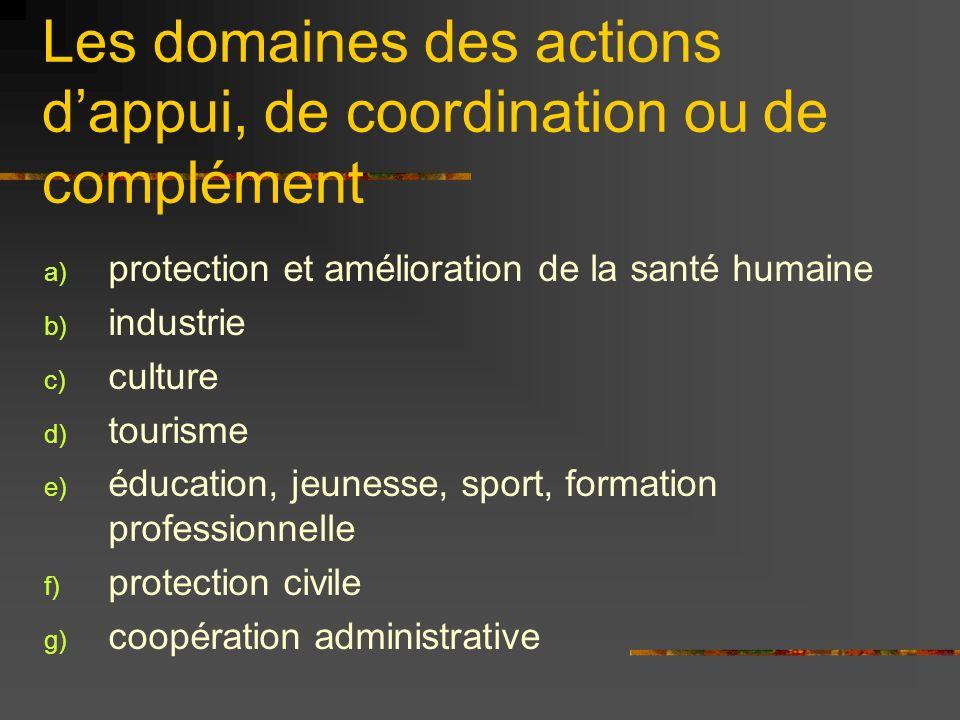 Les domaines des actions d'appui, de coordination ou de complément