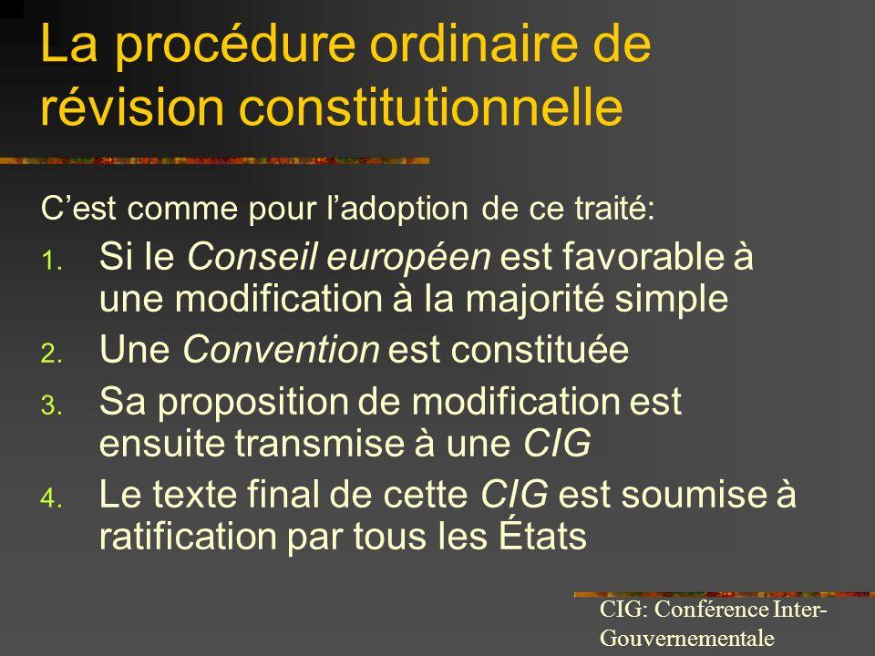 La procédure ordinaire de révision constitutionnelle