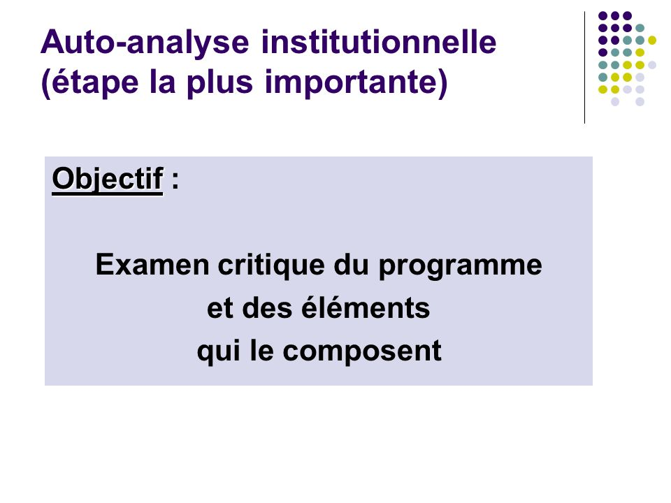 Auto-analyse institutionnelle (étape la plus importante)