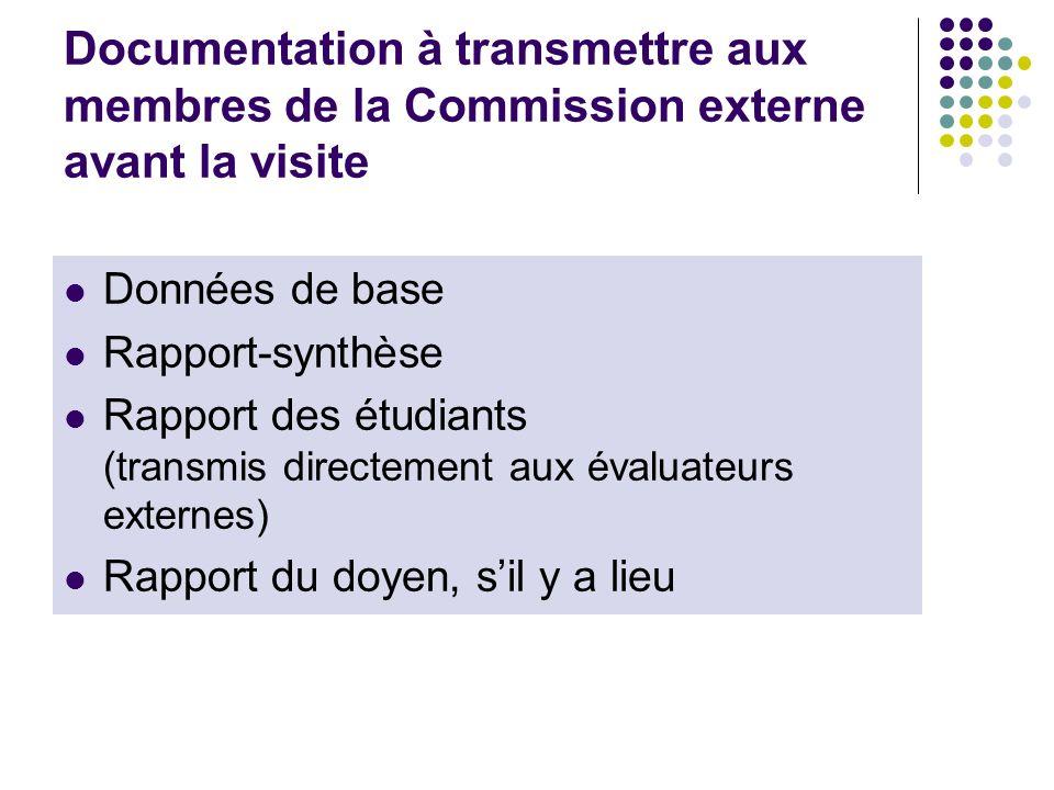 Documentation à transmettre aux membres de la Commission externe avant la visite