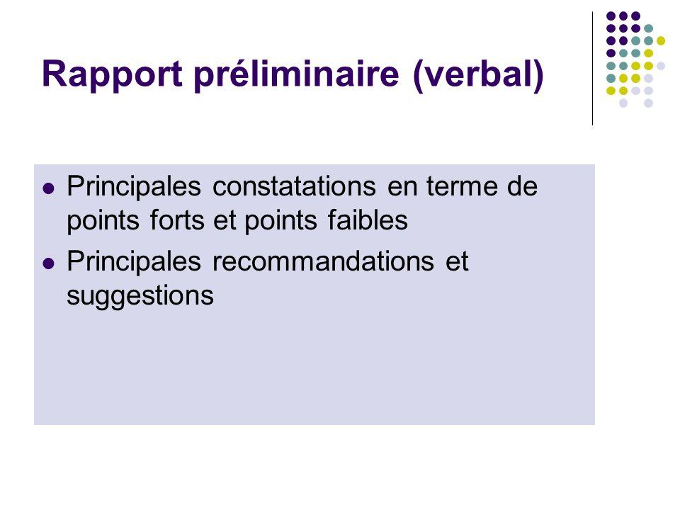 Rapport préliminaire (verbal)