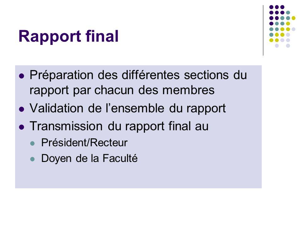 Rapport final Préparation des différentes sections du rapport par chacun des membres. Validation de l'ensemble du rapport.