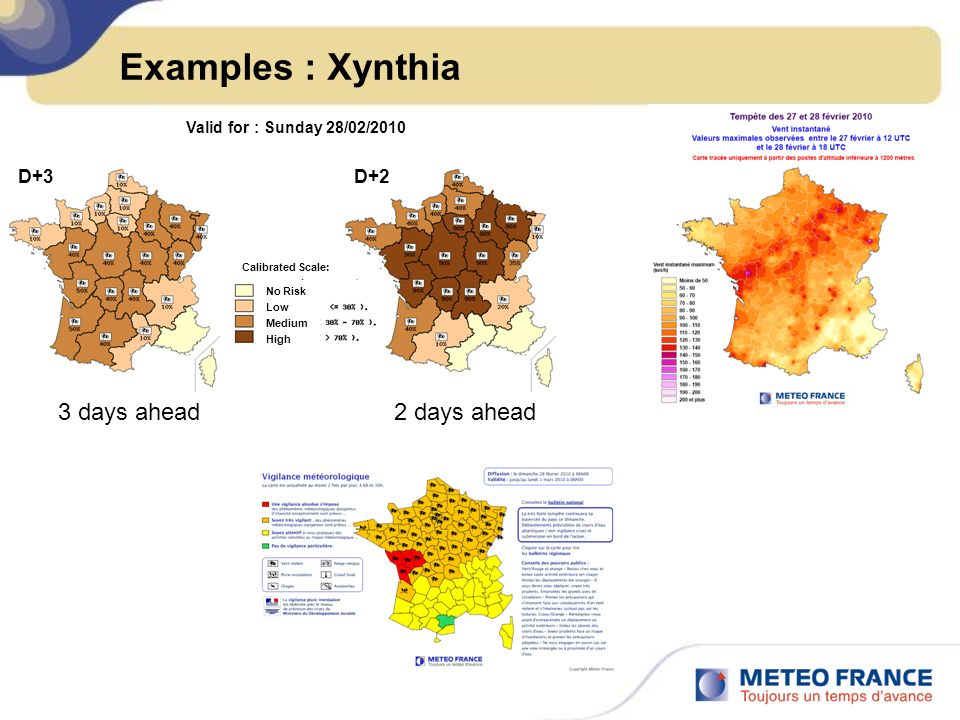Examples : Xynthia 3 days ahead 2 days ahead D+3 D+2