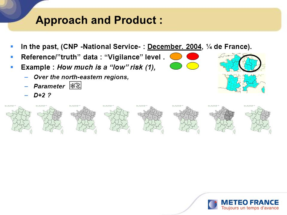 Approach and Product :In the past, (CNP -National Service- : December. 2004, ¼ de France). Reference/ truth data : Vigilance level .