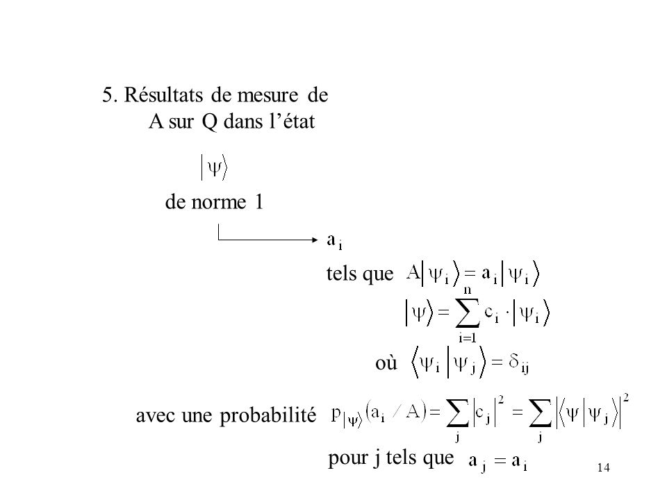 5. Résultats de mesure de A sur Q dans l'état