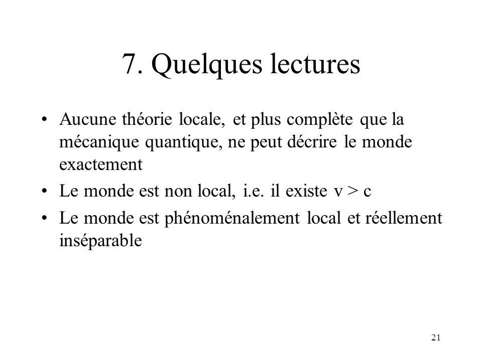 7. Quelques lectures Aucune théorie locale, et plus complète que la mécanique quantique, ne peut décrire le monde exactement.