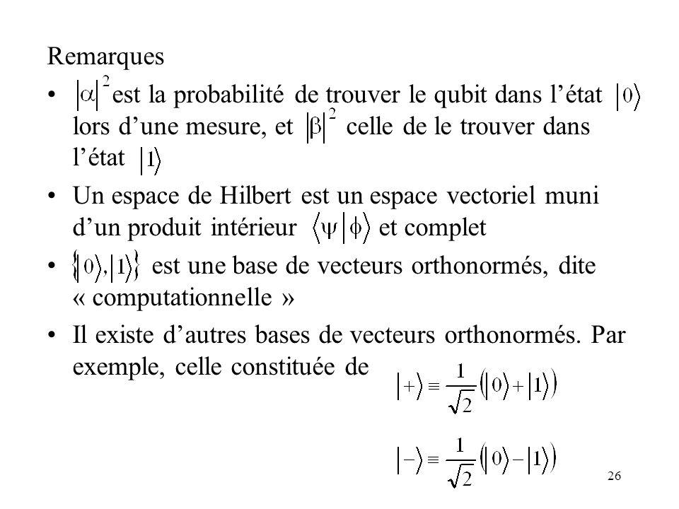 Remarques est la probabilité de trouver le qubit dans l'état lors d'une mesure, et celle de le trouver dans l'état.