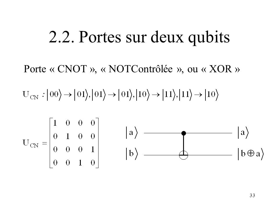 2.2. Portes sur deux qubits Porte « CNOT », « NOTContrôlée », ou « XOR »