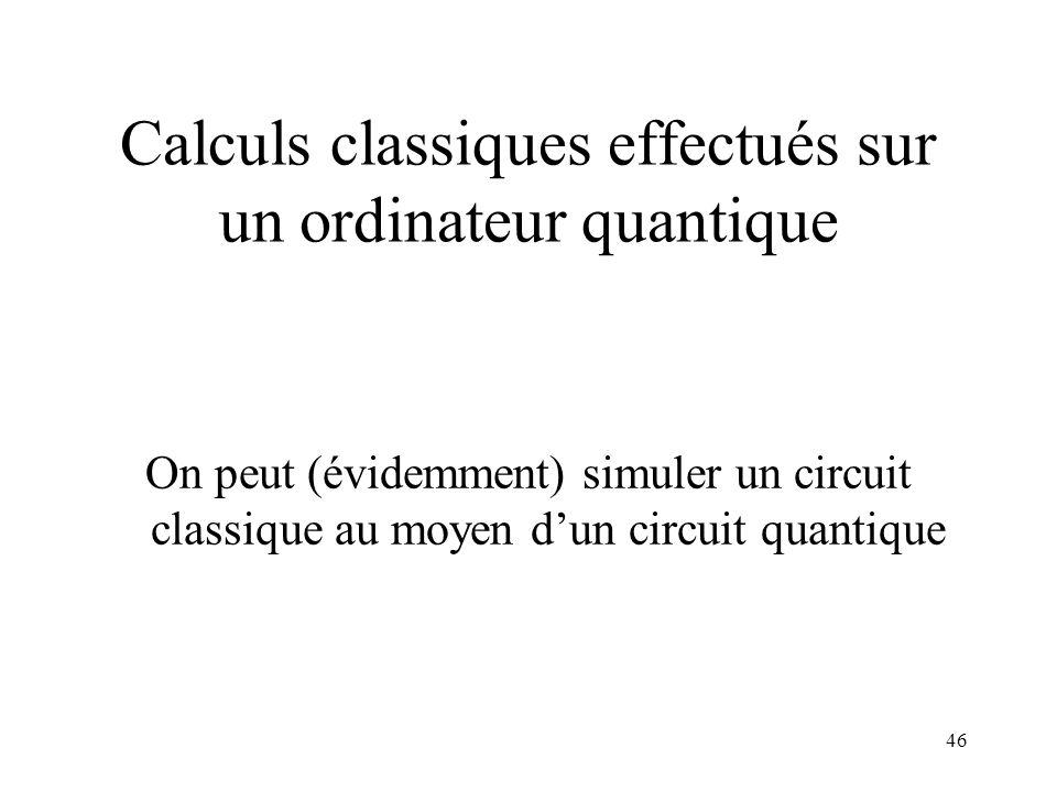 Calculs classiques effectués sur un ordinateur quantique