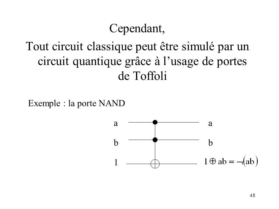 Cependant, Tout circuit classique peut être simulé par un circuit quantique grâce à l'usage de portes de Toffoli.